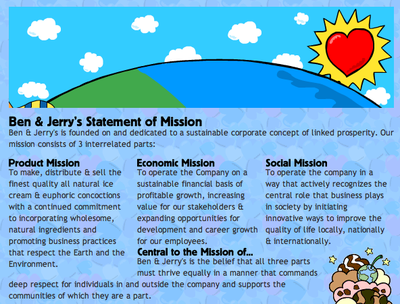 ben and jerrys mission statement
